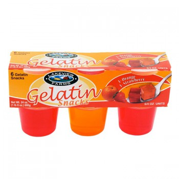 Lakeview Farms Strawberry Orange Gelatin 6Pak 4oz